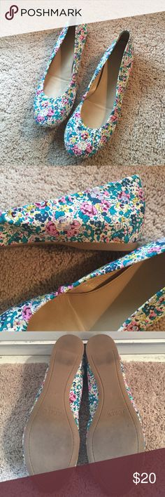 JCrew Floral Ballet Flats Very comfy and feminine flats with elastic upper and rounded toe. Pretty tones of teal, cream, and dark pink. A little yellow, too!Rubber sole. Worn a few times. Excellent condition. J. Crew Shoes Flats & Loafers