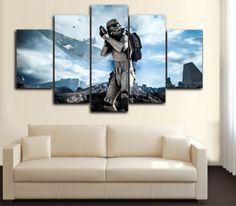 HD Printed Star Wars - Storm Trooper in Battle field 5 Piece Canvas