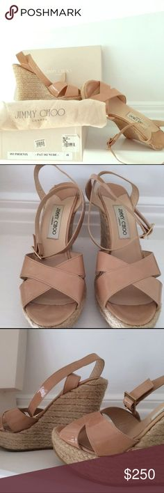 Jimmy Choo Phoenix patent leather espadrilles nude Jimmy Choo Phoenix 102 Nude patent leather espadrilles sandals in size 41. Worn twice, great condition, no discolorations or marks comes with dust bag and original box. Any additional questions or photos feel free to message me. Jimmy Choo Shoes Espadrilles