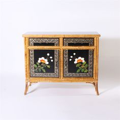 Pair of painted bamboo cabinets, c. 1960