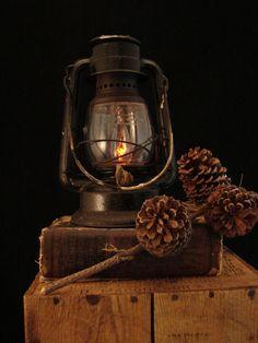 Upcycled Vintage Rusty Dietz Kerosene Lantern
