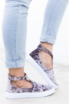 Slip into style and comfort in these velvet ankle strap slip-on fashion sneakers. They are designed with gorgeous faux velvet material that is sure to have your standing out amid the crowd!