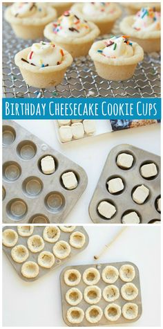 Celebrate any birthday or fun celebration with these cute Cheesecake Cookie Cups! Simply add your favorite colored sprinkles on top for a festive take on a one-bite dessert. Desserts To Make, Great Desserts, Mini Desserts, Delicious Desserts, Yummy Food, Spanish Desserts, Tropical Desserts, Japanese Desserts, Brownie Desserts