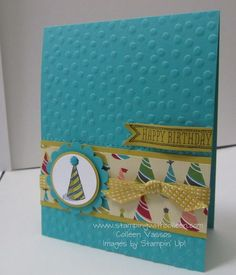 Colleen's fun card features Sketched Birthday, Birthday Basics dsp, & Decorative Dots embossing folder (SAB). All supplies from Stampin' Up!