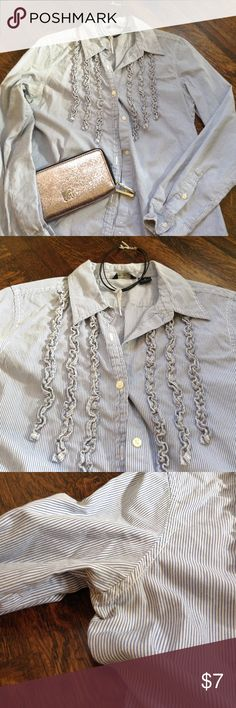 Cute ruffled breast detail top AE top with cute breast detail embellishment. Signs of wear....see pics. Still had life left; would look good under a jacket. American Eagle Outfitters Tops Button Down Shirts