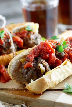 Meatball Subs with spicy tomato relish.