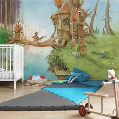 Vliestapete Wassili und Familie Fuchs Non-woven wallpaper Wassili and family Fuchs Mural Wall Art, Mural Painting, Art Wall Kids, Painting For Kids, Kids Room Murals, Murals For Kids, Fairy Bedroom, Wallpaper Roll, Room Colors