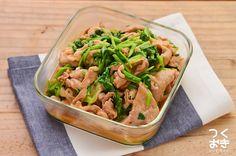 豚肉と小松菜をしょうがのきいた甘辛味で炒めました。野菜もとれて、ご飯にもよく合うメインおかず。豚肉にまぶした片栗粉に味がよくなじんでいます。表示の調理時間は、肉の下ごしらえ(酒に漬ける)を含まない目安の時間です。冷蔵保存4日