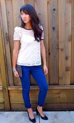 Lace top and blue pants outfit. I will wear my  buff shoes & black lace top