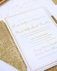 Oh So Beautiful Paper: Lisa + Paul's Gold New Year's Eve Wedding Invitations