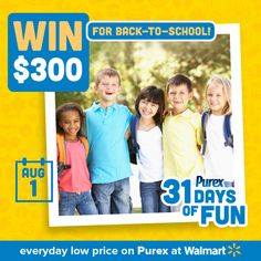 *THIS SWEEPSTAKES HAS ENDED* Who wants to win $300 for back-to-school shopping? REPIN! #Purex31DaysOfFun