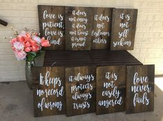 Love is Patient Love is Kind aisle signs  by RusticRoadSignCo