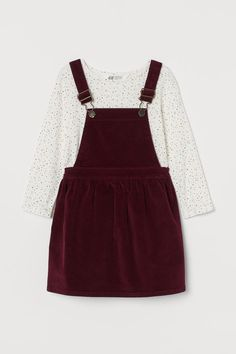 2-piece cotton set - Dark red/Spotted - Kids | H&M GB 4 Dungaree Dress, Dungarees, Red And White Stripes, Fashion Company, Flare Skirt, Dark Red, Overall Shorts, Neue Trends, T Shirts