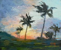 Tropical Landscape Painting Small Oil by CarolSchiffStudio on Etsy, $159.95