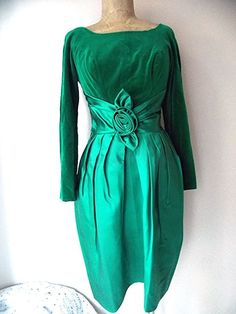 Holiday Dress Size Medium Satin Velvet Green Christmas Party Vintage 50s Formal #Unknown