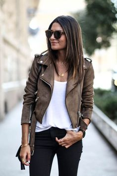 suede moto jacket, white tee, black jeans