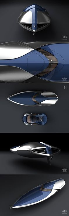 """#Bugatti speedboat design inspired by """"Sang-Bleu"""" colored #Bugatti #Veyron. The conceptual boat has a W16 Quad Turbo 1000HP engine.     - designed by Ben Walsh"""