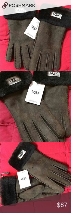 NWT - UGG Gloves Women's Turn Cuff Glove - color: Chocolate - size: Large - The Classic Turn Cuff Glove features cozy sheepskin lining and a turned out cuff - Handsewn - Genuine leather & Real dyed shearling sheepskin - BNWT UGG Accessories Gloves & Mittens