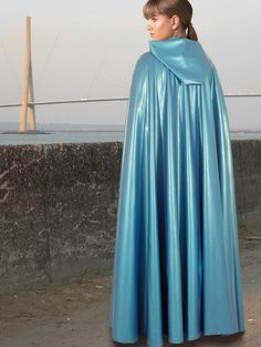 Blue Rubber Hooded Cape