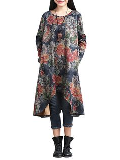 Sale 28% (33.75$) - Vintage Women Ethnic Style Flower Printed High Low Dress With Snood