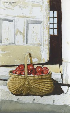 Artsy, City Scapes, Basket, Watercolors, Art Ideas, Painting, Apple, Summer, Drawings