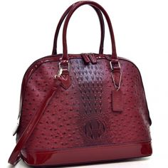 Dasein Ostrich Faux Leather Dome Satchel with Patent Trim - fashlets.com