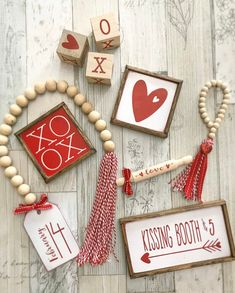 Red & White Valentines Day tiered tray set Mix and match image 3 Wood Bead Garland, Beaded Garland, Valentines Day Decorations, Valentine Crafts, Valentine Party, Bowls, Photo Prop, Tiered Stand, Mini Heart