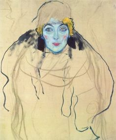 Portrait of a Lady (unfinished) by Gustav Klimt, 1917. The portrait belongs to the group of paintings found in Klimt's atelier after his death
