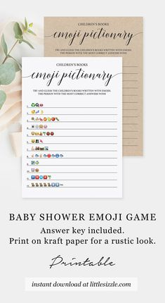 Emoji Game for Baby Shower Printable Baby Shower Emojis Game Children's Book Emoji Pictionary Simple by LittleSizzle. Are you looking for a fun game to play at your (virtual) baby shower? Play Children's Book Emoji Pictionary with this simple, yet elegant game card. Printable and virtual PDF templates are included. Guess the names of the children's book described using emojis. Print at home or play online over Zoom. #babyshoweremojigame #emojipictionarybabyshowergame #rusticbabyshowergames White Baby Showers, Simple Baby Shower, Baby Shower Fall, Baby Shower Games, Fall Baby, Summer Baby, Baby Shower Printables, Baby Shower Invitations, Emoji Games