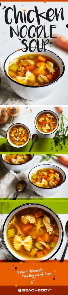Whether you're coming down with a cold or simply craving a comforting bowl of soup to warm you in winter, you can count on good old chicken noodle soup to hit the spot. // recipe // winter food // soup // soups // healthy eating // clean eating // meal prep // Beachbody // BeachbodyBlog.com