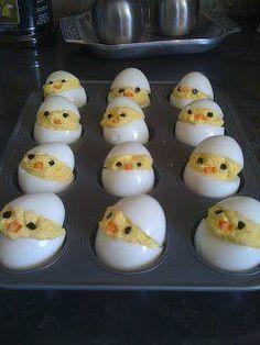 Hart gekochte Ostereier als Küken | Ostern DIY Rezept Essen Brunch Dekoration