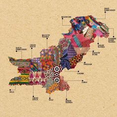 Artistic Maps of Pakistan and India Show Embroidery Techniques of Each Region