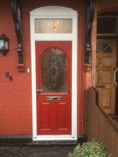 red composite door in a white upvc frame. Installed by Windseal Double Glazing based in Coventry & Warwickshire Composite Front Door, Hallway Decorating, Coventry, Front Doors, Composition, New Homes, Frame, Modern, Red