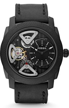 FOSSIL Machine Twist Leather Watch Black ME1121 < $164.88 > Fossil Watch Men