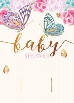 Baby Shower Princess, Baby Shower Fun, Baby Boy Shower, Butterfly Baby Shower, Butterfly Party, Baby Shower Invitation Cards, Diy Invitations, Baby Shower Greetings, Baby Shower Invitaciones