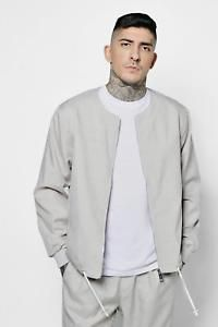 Boohoo Mens Collarless Woven Coach Jacket in Stone size L Mens Velour Tracksuit, Athletic Wear, Online Shopping Clothes, Latest Fashion Trends, Bomber Jacket, Mens Fashion, Boohoo, Sweaters, How To Wear
