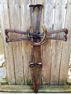 Railroad Spike Horse Shoe Cross by DsHorseshoeArt on Etsy