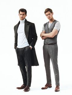 From left: Coat, sweater, and pants by Versace, belt by Tom Ford, shoes by Fratelli Rossetti. Vest and pants by BOSS, T-shirt by HUGO, belt by Ermenegildo Zegna, shoes by Louis Vuitton.