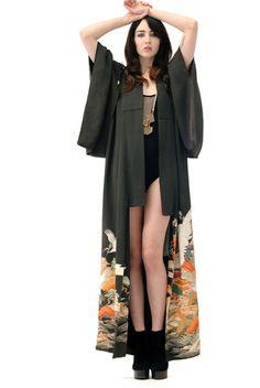 Dahlia Hand Painted Antique Silk Kimono