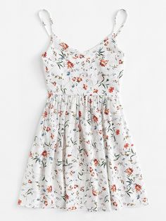 Shop Floral Print Cami Dress at ROMWE, discover more fashion styles online. Cute Summer Outfits, Cute Casual Outfits, Pretty Outfits, Pretty Dresses, Spring Outfits, Casual Dresses, Summer Dresses, Floral Print Dresses, Floral Sundress