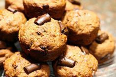 Whole Wheat Chocolate Chip Banana Bread Muffins via @spoonuniversity/ #baking #banana
