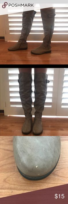 """Bamboo boots I always WANT to wear these. But it's never cold enough. They go right over the knee. Model is 5'8"""". Just a little baby 1"""" heel. Little scuff on left toe as pictured. Bamboo Shoes Over the Knee Boots"""