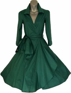 GREEN 50's STYLE ROCKABILLY / SWING / PIN UP COTTON WRAP EVENING PARTY DRESS [ Available From Amazon(UK & Ireland) £35.99 ]
