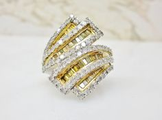 2 Carat Fancy Canary Yellow Baguette & Round White Diamond Ring Silver Sz 6…