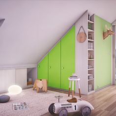 Le dressing sous les combles Home Id, Attic Rooms, Mezzanine, Small Apartments, Home Deco, Home Projects, Cupboard Storage, Dressing Room, Playroom