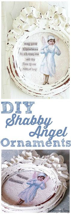 Make a Shabby Christmas Angel Ornament - White Lace Cottage - The Graphics Fairy