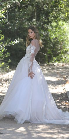 erin cole fall 2017 bridal long sleeves plunging neckline lace applique bodice ball gown wedding dress (ava) sv illusion back train romantic princess