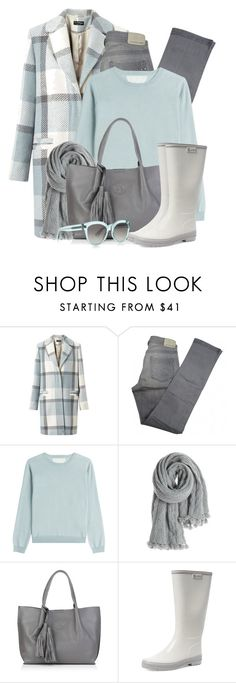 """""""Checked Coat & Rain Boots"""" by brendariley-1 ❤ liked on Polyvore featuring Miss Selfridge, Comptoir Des Cotonniers, RED Valentino, Calypso St. Barth, Nadia Minkoff, Aigle and BOSS Hugo Boss"""