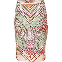 Mara Hoffman Rainbow Palm High Waisted Skirt (£100) ❤ liked on Polyvore featuring skirts, rainbow palm stone, pink pencil skirt, mara hoffman, print pencil skirt, geometric skirt and patterned pencil skirt