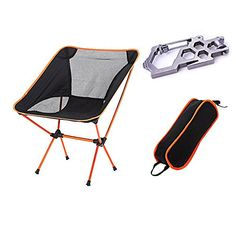 Ezyoutdoor Outdoor Ultralight Portable Folding Chairs with Carry Bag Heavy Duty Camping Folding Chair (Orange) -- Click image for more details.